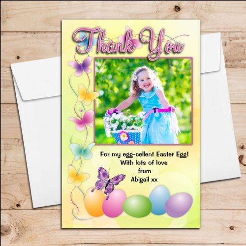 10 Personalised Girls Boys Happy Easter Egg PHOTO Thank you Post Cards N11